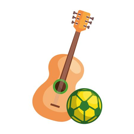 sport ball soccer with guitar isolated icon vector illustration design