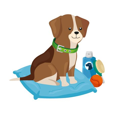 cute dog with objects for care vector illustration design