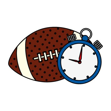 chronometer with ball american football isolated icon vector illustration design