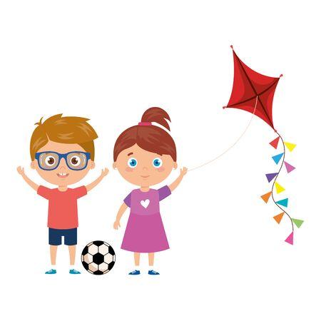 cute little children with kite and ball soccer vector illustration design