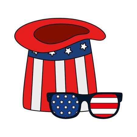 Usa hat glasses design, United states america independence labor day nation us country and national theme Vector illustration