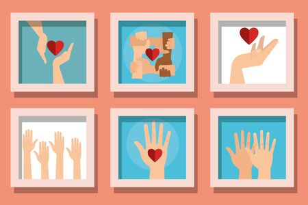 Help hands with hearts set design of Collaborative team cooperation together partnership unity idea strategy solution togetherness and occupation theme Vector illustration