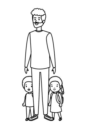young father with son and daughter vector illustration design