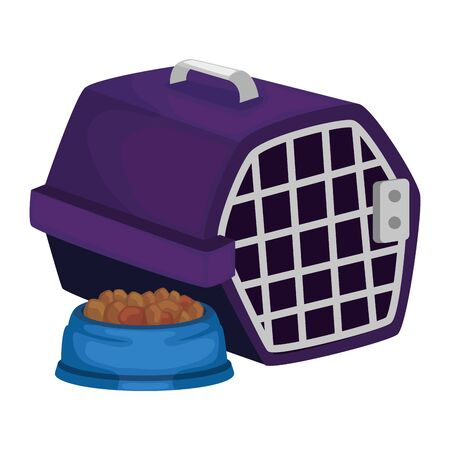 pet carry box with dish food animal isolated icon vector illustration design