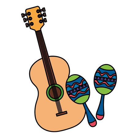 maracas with guitar musical instruments isolated icon vector illustration design