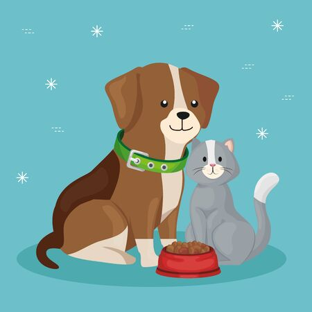 cute dog with cat and dish food vector illustration design Illustration