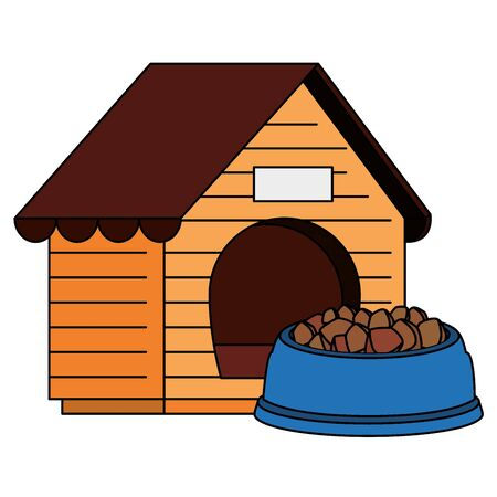 wooden dog house with food animal vector illustration design