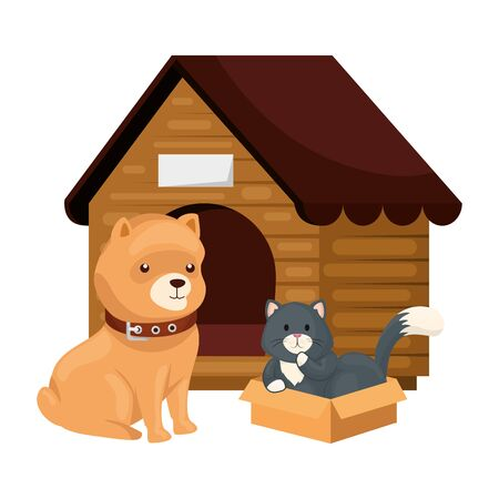 cute dog and cat with wooden house isolated icon vector illustration design