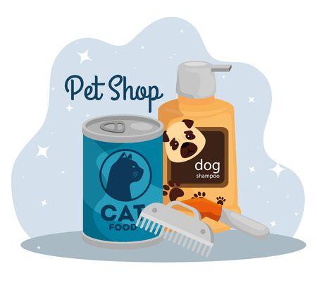 pet shop with care bottle and icons vector illustration design Illusztráció