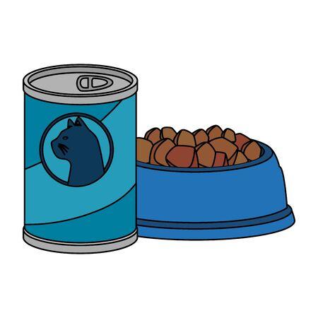 dish and food for cat in can isolated icon vector illustration design 向量圖像