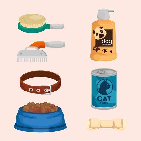 collection of icons for care animals vector illustration design Illusztráció
