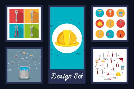 designs set of tools and equipments under construction vector illustration design