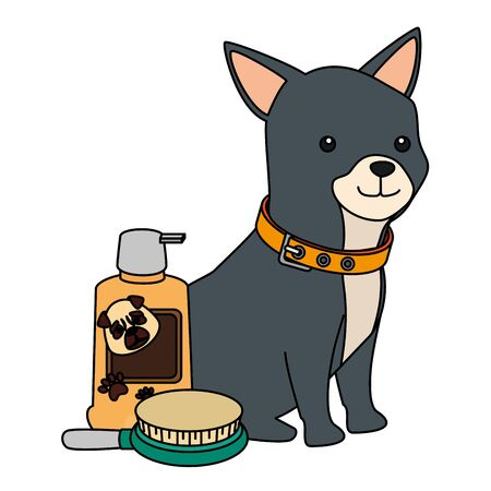 cute dog with bottle for care and brush vector illustration design