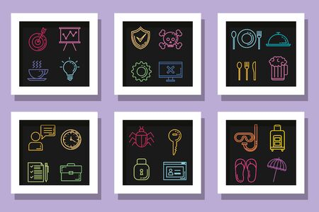 bundle icons of summer season with cyber technology and business vector illustration design