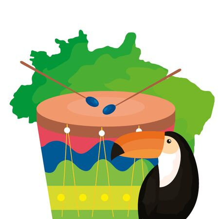 toucan and drum with map of brazil vector illustration design