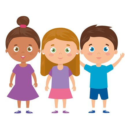 cute little children avatar character vector illustration design