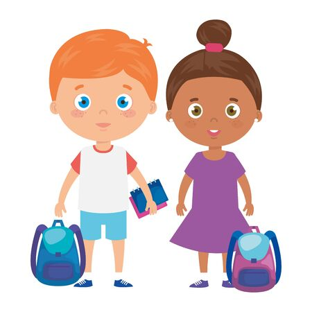 cute little children with school bag and toys vector illustration design 矢量图像