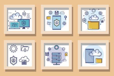 bundle designs set of data center and icons vector illustration design