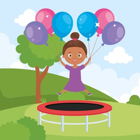 little girl afro in trampoline jump with balloons helium in park landscape vector illustration design