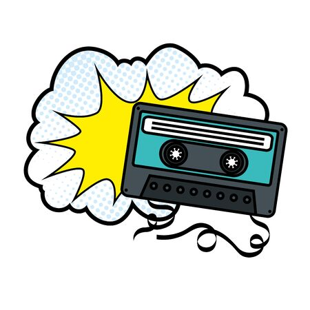 cassette with cloud pop art style icon vector illustration design