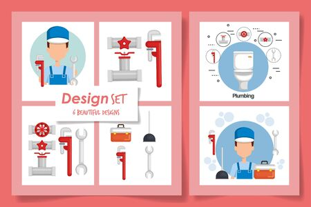 six designs of plumbing and icons vector illustration design