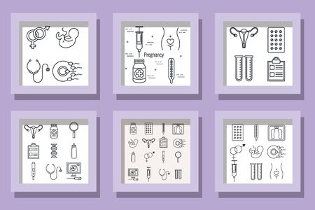 bundle designs pregnancy set icons vector illustration design