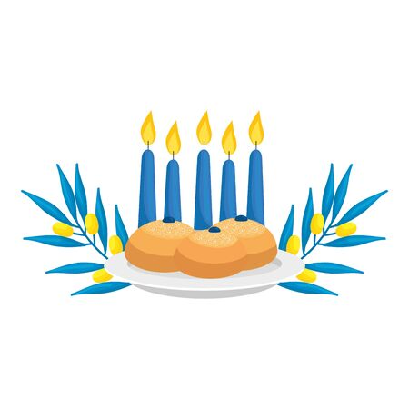 set of round breads with candles and olive branches vector illustration design Illustration
