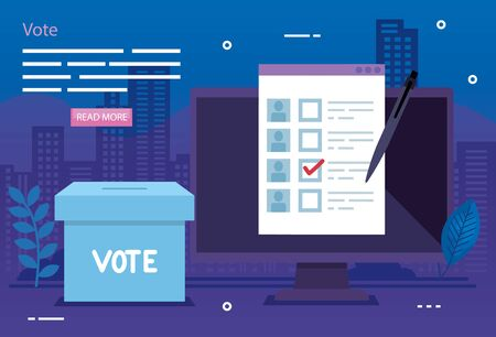 poster of vote with computer and ballot box vector illustration design