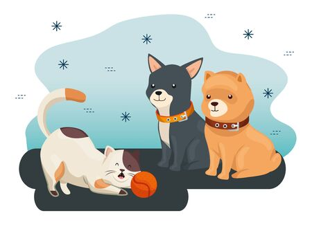 group of cute dogs and cat with ball toy vector illustration design