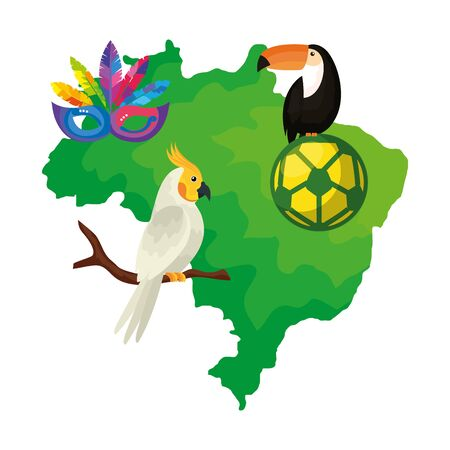 map of brazil with parrot and icons traditionals vector illustration design