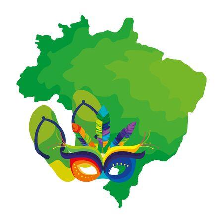 map of brazil with mask carnival and flip flops vector illustration design Ilustrace