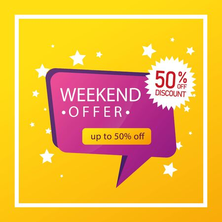 commercial label weekend offer with fifty percent discount vector illustration design