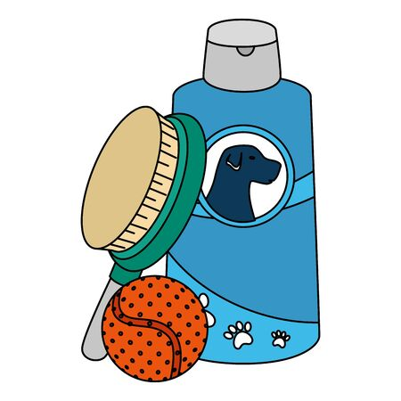 brush pet with dog care bottle and ball toy vector illustration design