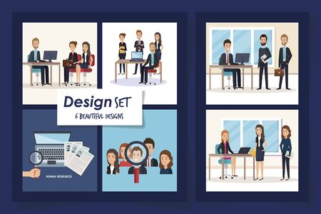 six designs of scenes resources human with icons vector illustration design Ilustração