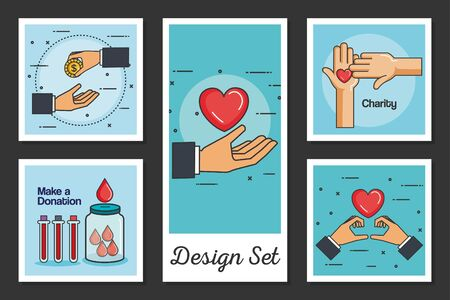 designs set of make a donation with icons vector illustration design