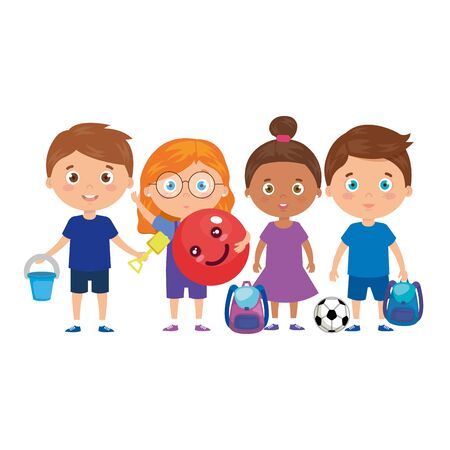 group of little children with school bag and toys vector illustration design 版權商用圖片 - 140448849