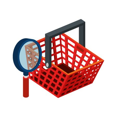 basket shopping with magnifying glass isolated icon vector illustration design Illustration
