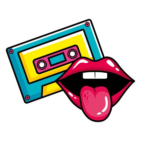 cassette music with sexy mouth pop art style icon vector illustration design