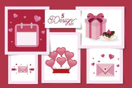 set five designs of love and decoration vector illustration design Ilustracja