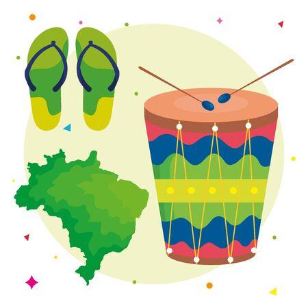 set of icons traditional brazil vector illustration design