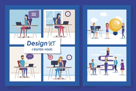 six designs of teamwork people and icons vector illustration design