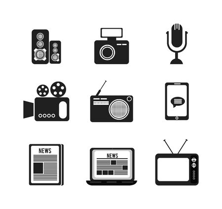 set of news information icons vector illustration design