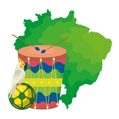 map of brazil with parrot and icons traditional vector illustration design