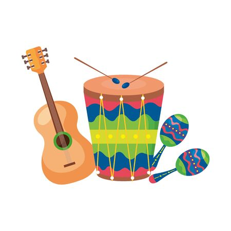 maracas with guitar and drum musical instruments vector illustration design