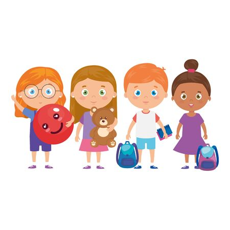 group of little children with school bag and toys vector illustration design 版權商用圖片 - 140304441