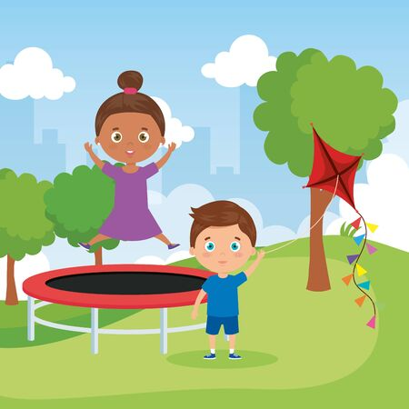 little children in park landscape with trampoline jumping and kite vector illustration design 일러스트