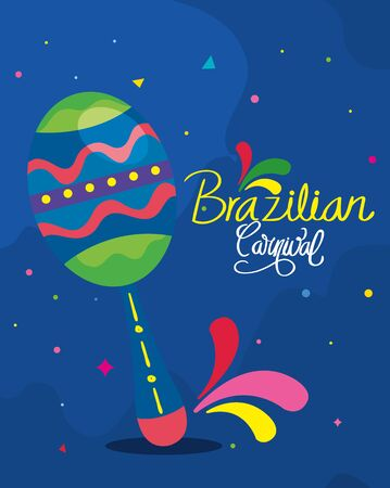 poster of brazilian carnival with maraca and decoration vector illustration design