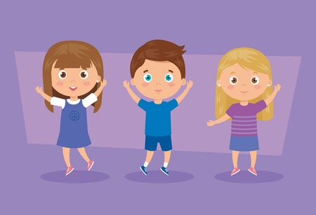 cute group of children characters vector illustration design