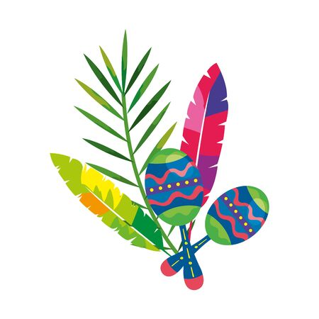 maracas with exotic feathers and tropical leaf vector illustration design