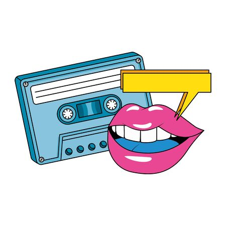 floppy with lips nineties retro style isolated icon vector illustration design